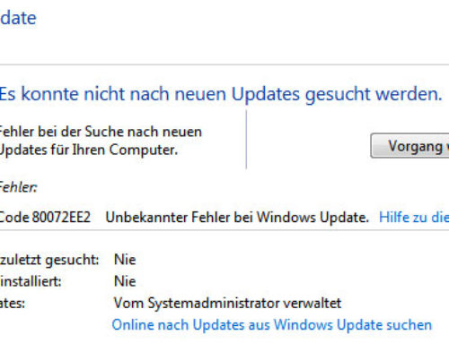 Fehlercode 80072ee2 bei Windows Update