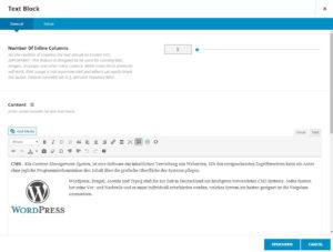 Wordpress Texteingabe