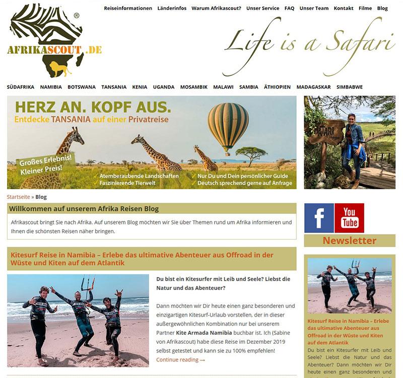 Referenzen Webdesign - Afrika Reisen Safaris Blog