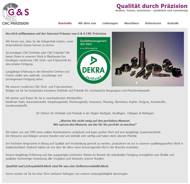 Referenzen Webdesign - G&S CNC Präzision GmbH