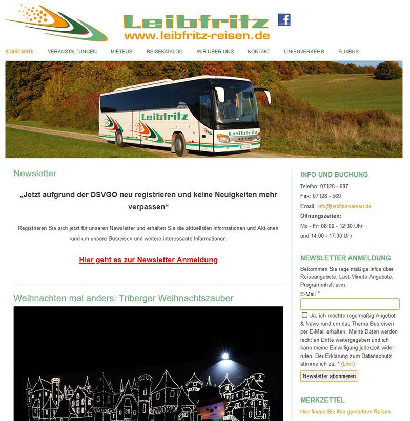 Referenzen Webdesign - Leibfritz Reisen